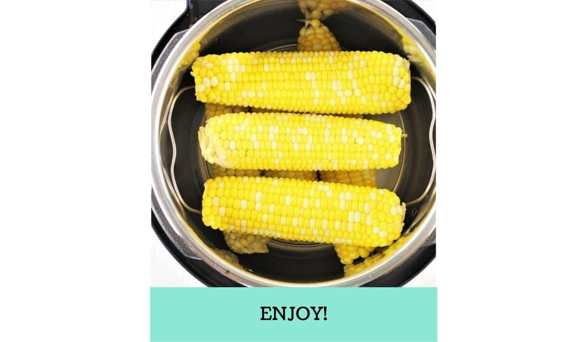 one image showing the steps to make instant pot corn on the cob