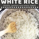 white rice in an instant pot with a wooden spoon with a text overlay that says now cook this instant pot long grain white rice, fluffy, perfect rice every time