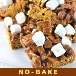 smores bars on a plate with a text overlay that says now cook this no bake smores treats