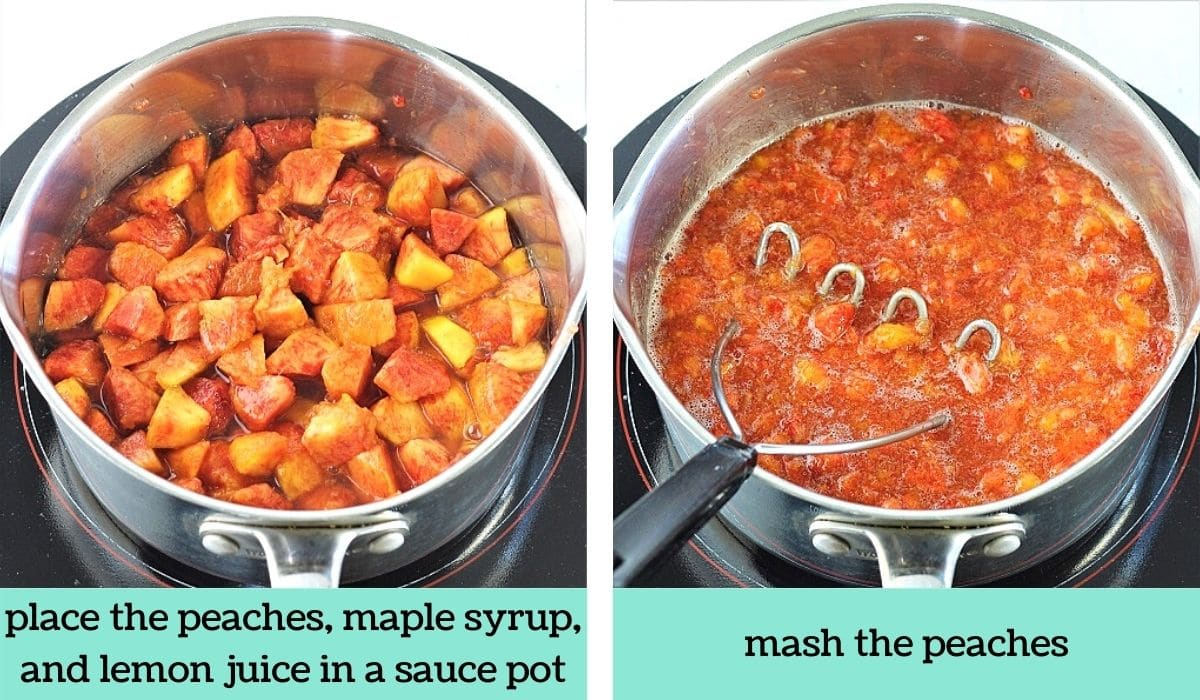 two images showing the steps to make peach refrigerator freezer jam with maple and vanilla