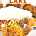 slice of cake on a plate with a fork with a text overlay that says pineapple carrot cake nowcookthis.com