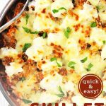 skillet lasagna in a pan with a text overlay that says now cook this quick and easy skillet lasagna