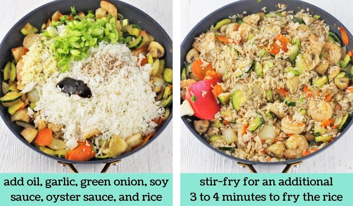 two images showing the steps to make shrimp fried rice with zucchini and mushrooms