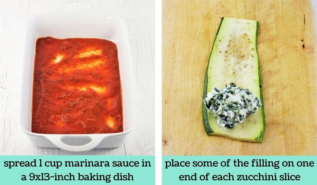 two images showing the steps to make zucchini lasagna roll-ups