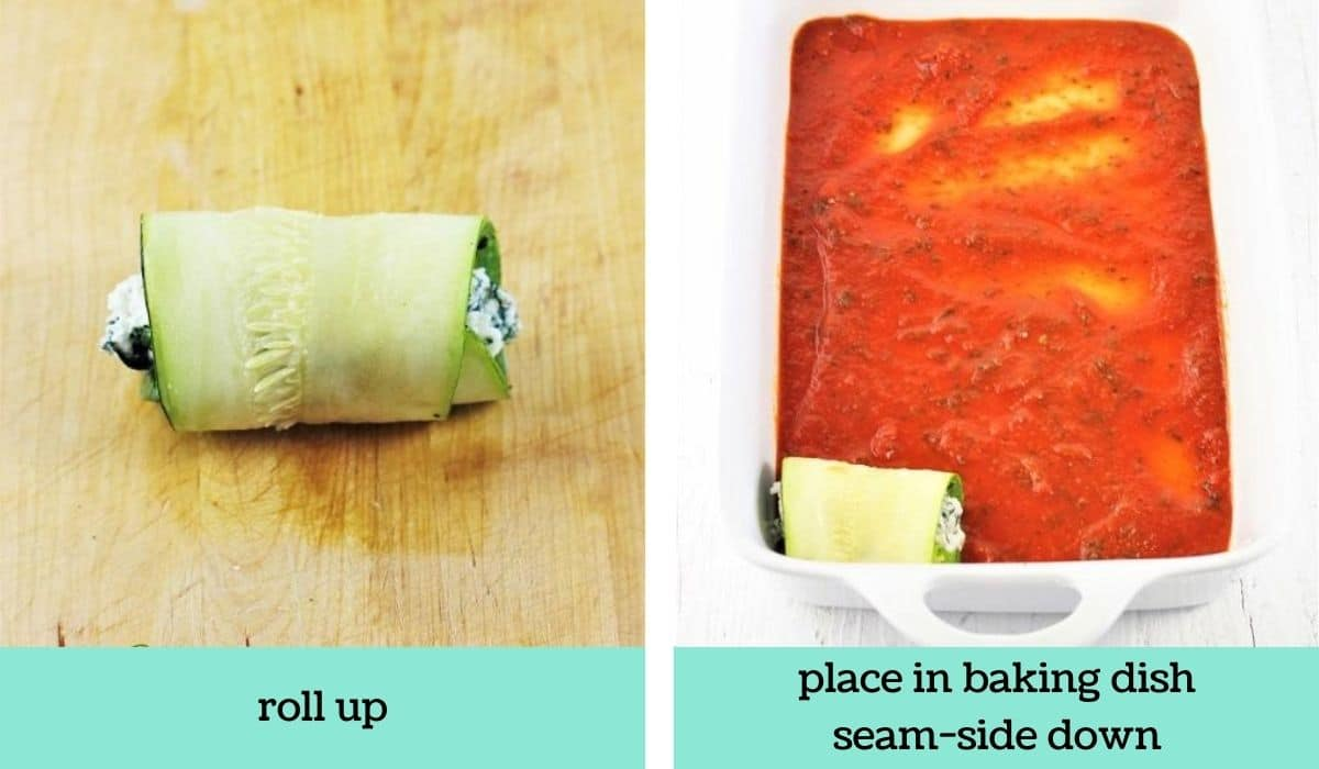 two images showing the steps to make zucchini lasagna rolls