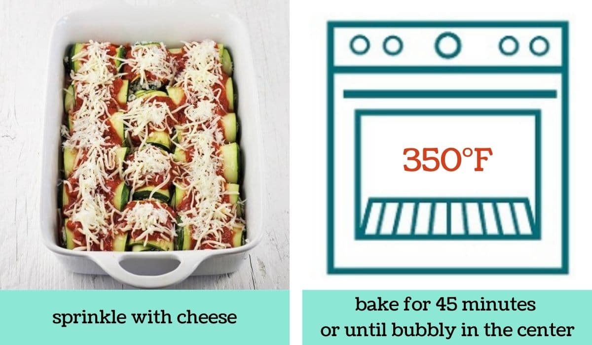 two images showing how to make zucchini lasagna roll-ups