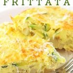 two pieces of frittata on a plate with a fork with a text overlay that says zucchini and potato frittata nowcookthis.com