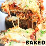 a piece of eggplant parmesan being lifted from a baking dish with a text overlay that says now cook this baked eggplant parmesan