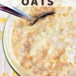 oatmeal in a jar with a spoon with a text overlay that says basic overnight oats nowcookthis.com