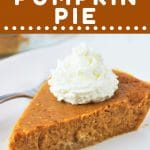 piece of pie on a plate with a text overlay that says now cook this crustless pumpkin pie