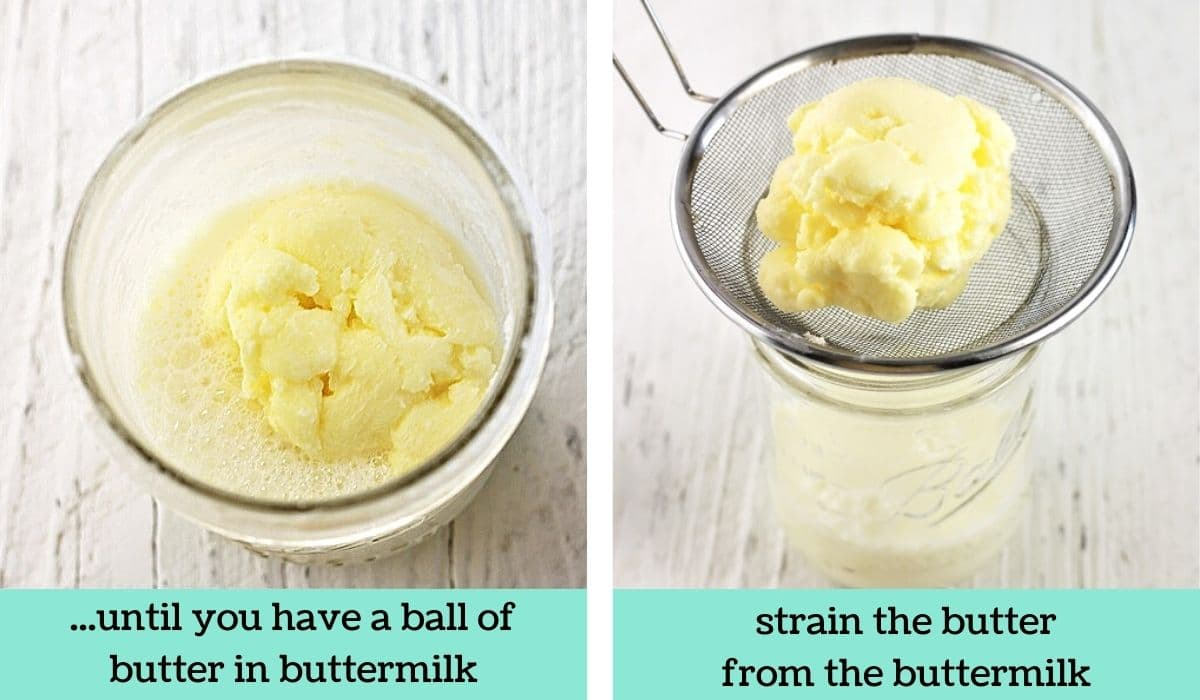 two images showing the steps to make butter in a jar