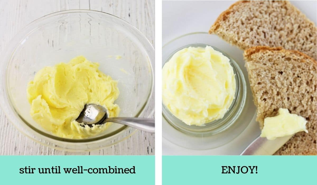two images showing how to make homemade butter in a jar
