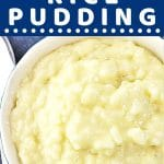 rice pudding in a bowl with a spoon on the side with a text overlay that says now cook this easy instant pot rice pudding
