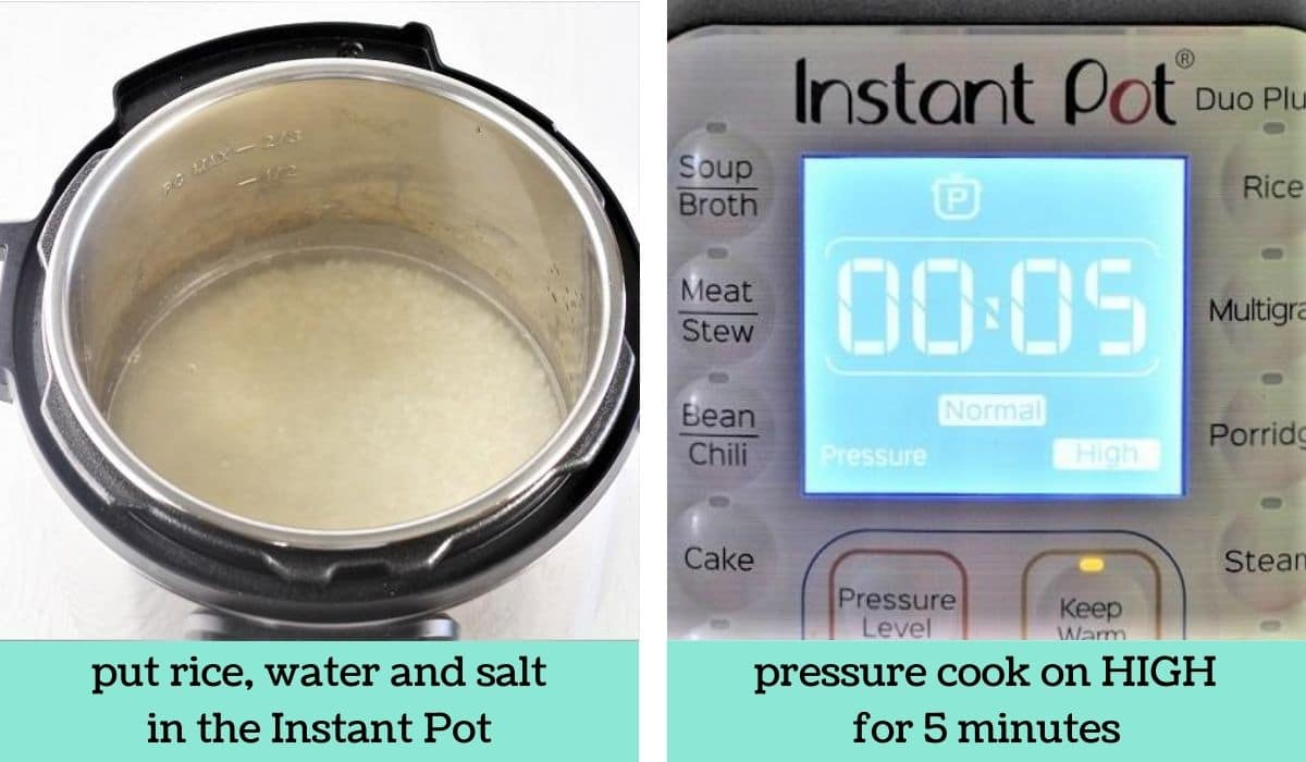 two images showing the steps to make instant pot rice pudding