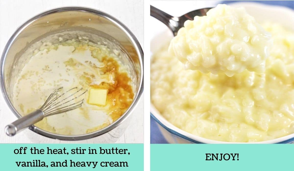 two images showing how to make easy instant pot rice pudding