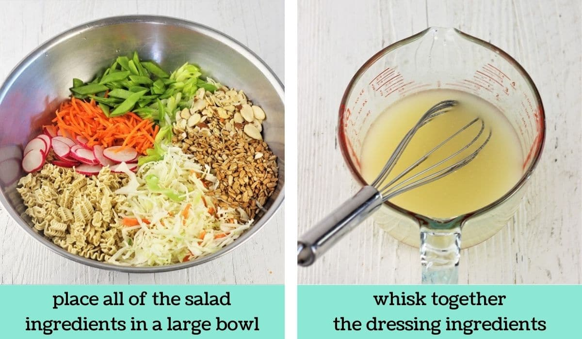 two images showing the steps to make easy ramen noodle salad