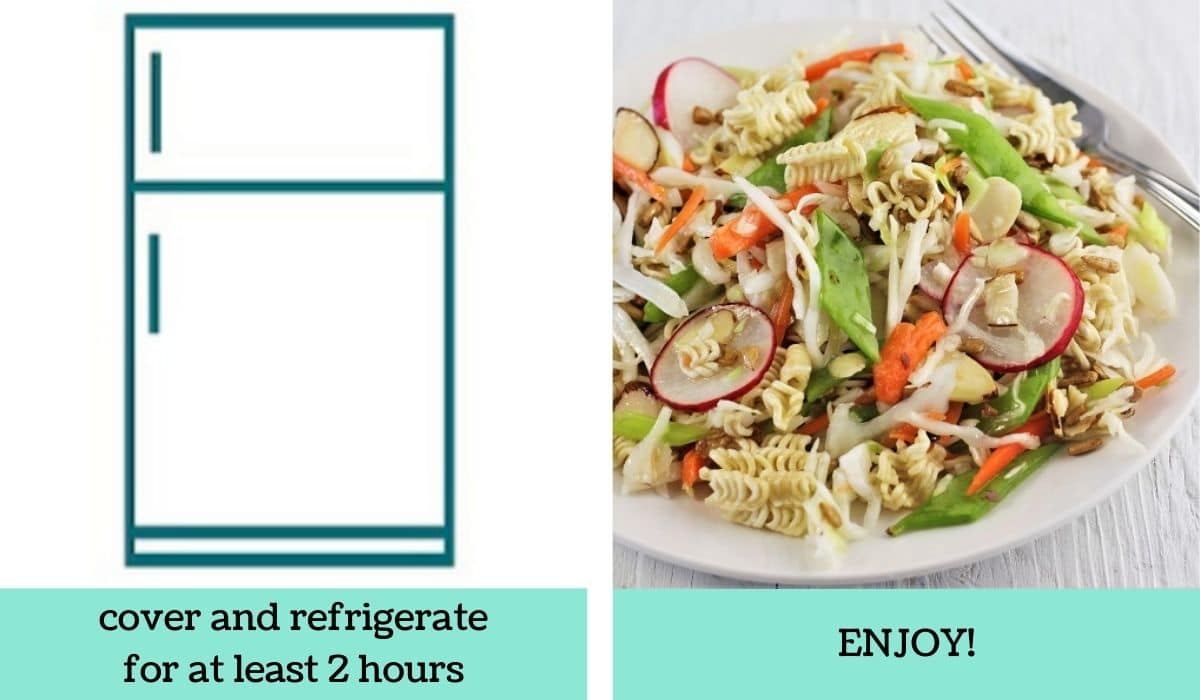 two images showing how to make easy ramen noodle salad