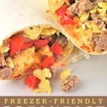 burrito cut in half with a text overlay that says now cook this freezer friendly breakfast burritos