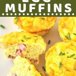egg muffins on a plate with a text overlay that says now cook this ham and cheese egg muffins