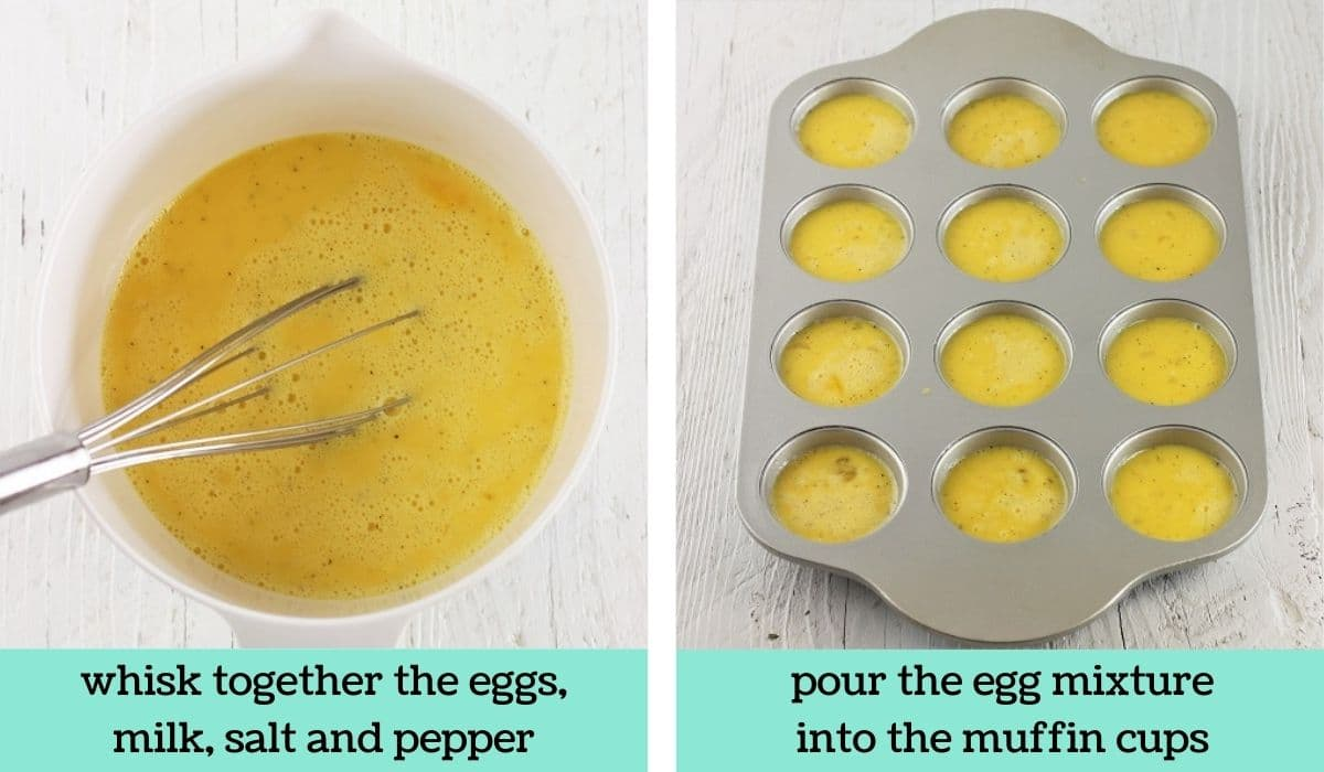 two images showing the steps to make ham and cheese egg muffins