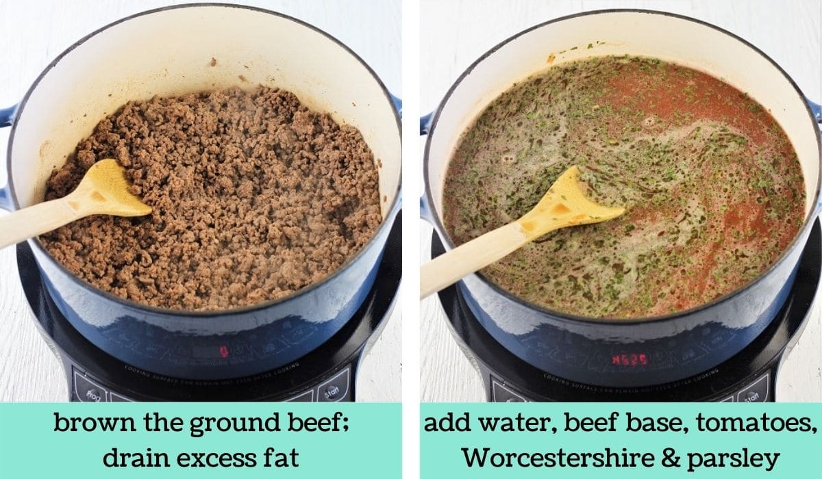 two images showing the steps to make hearty hamburger soup