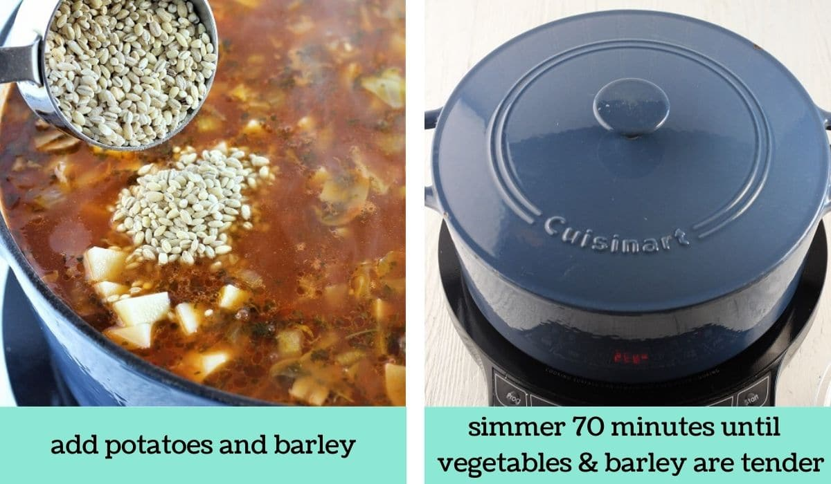 two images showing how to make hamburger soup