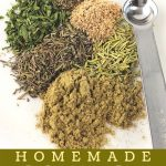herbs and spices on a plate with a measuring spoon with a text overlay that says now cook this homemade poultry seasoning
