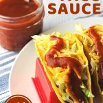 two tacos next to a jar of taco sauce with a text overlay that says now cook this homemade taco sauce quick and easy