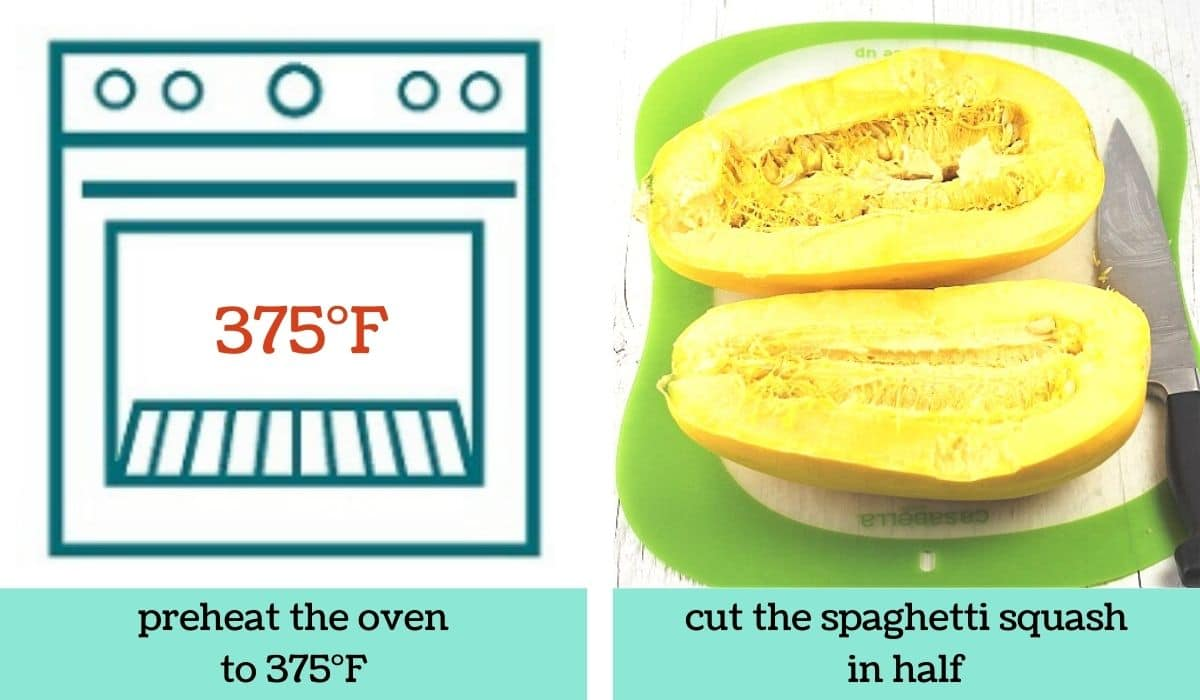 two images showing the steps to make spaghetti squash in the oven