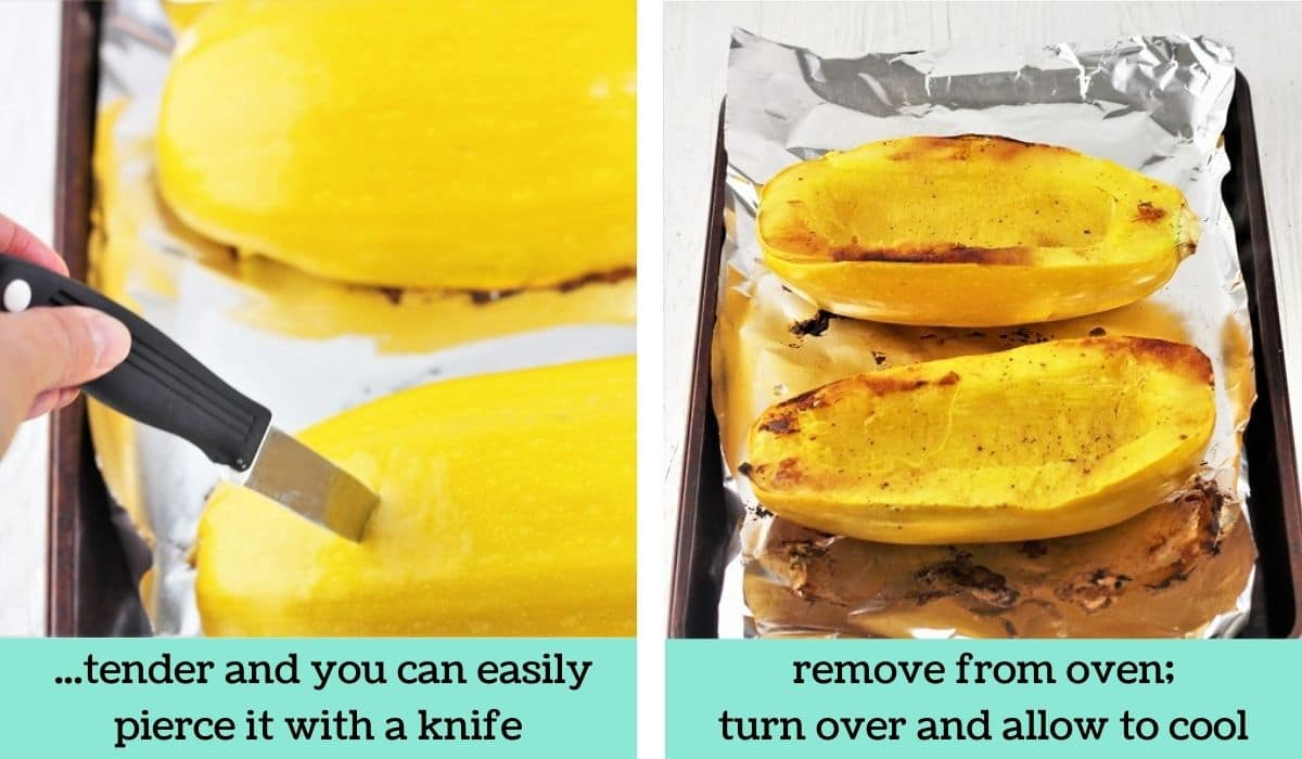 two images showing how to make spaghetti squash in the oven