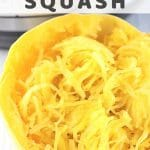 half of a cooked spaghetti squash in front of an instant pot with a text overlay that says instant pot spaghetti squash nowcookthis.com