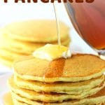 stack of pancakes with syrup being poured over the top with a text overlay that says malted cream of wheat pancakes nowcookthis.com