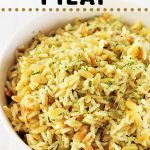bowl of pilaf with a text overlay that says rice and pasta pilaf nowcookthis.com