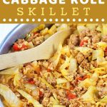 unstuffed cabbage rolls in a pan with a text overlay that says now cook this unstuffed cabbage roll skillet