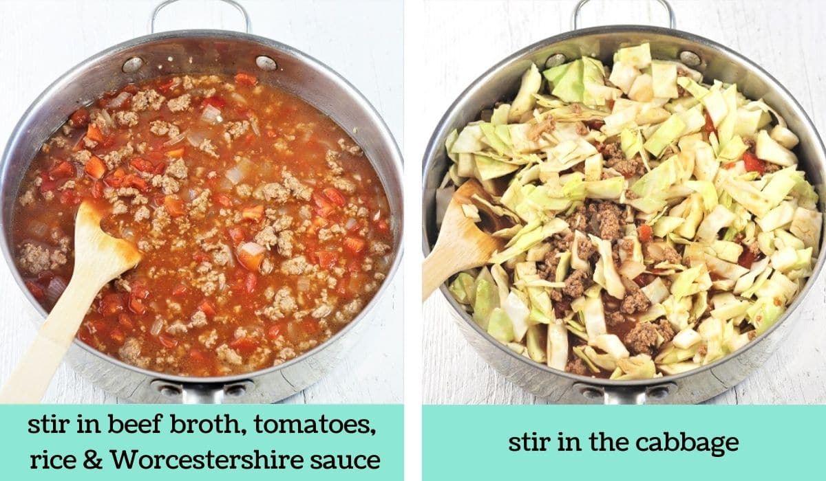 two images showing the steps to make unstuffed cabbage roll skillet