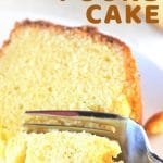 piece of pound cake being cut with a fork with a text overlay that says now cook this vanilla almond pound cake