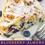 piece of cake on a plate with a fork, blueberries and almonds with a text overlay that says now cook this blueberry almond coffee cake