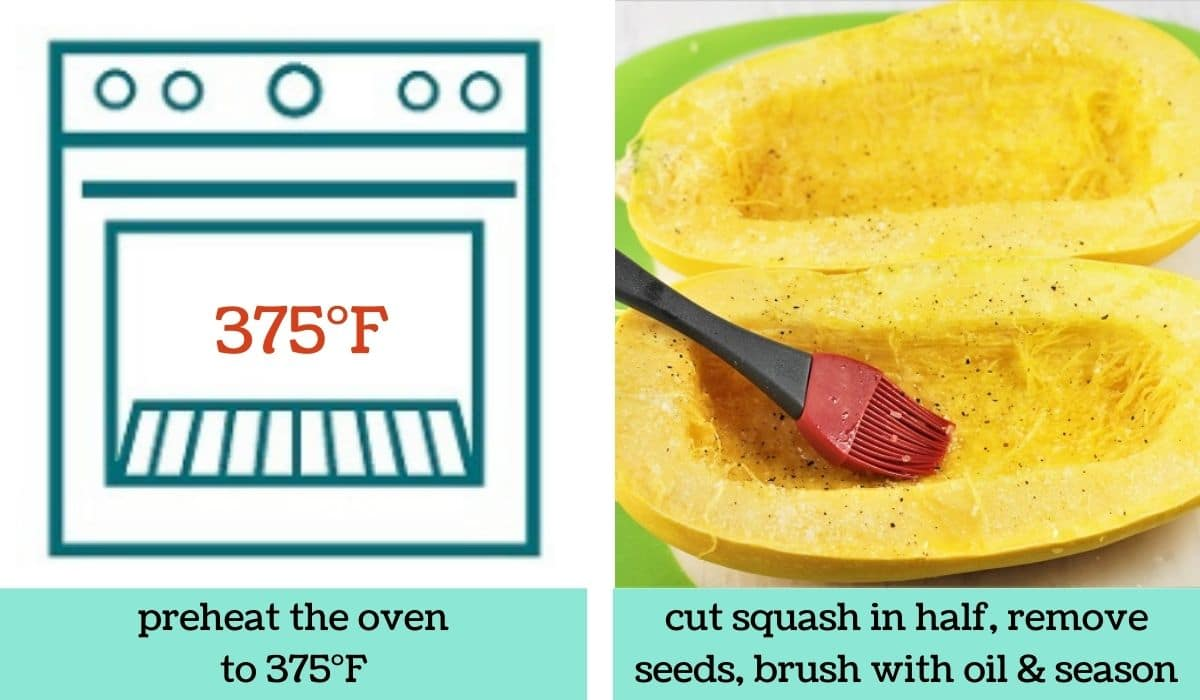 two images showing the steps to make buffalo chicken spaghetti squash bowls