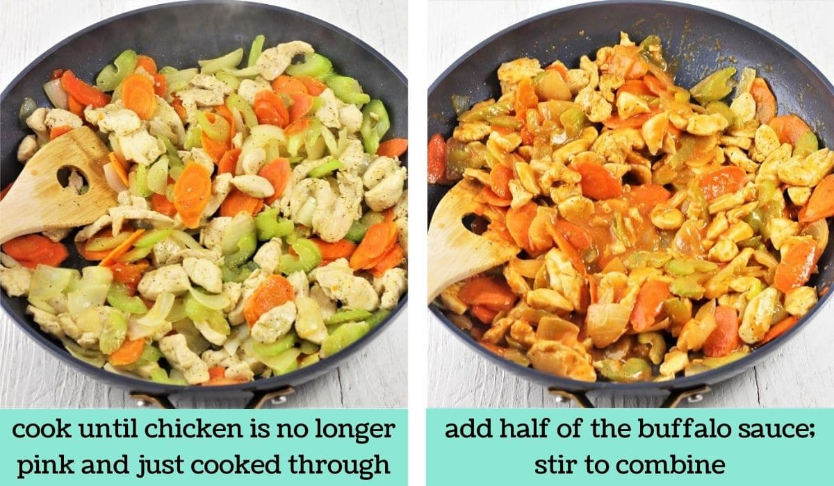 two images showing how to make buffalo chicken spaghetti squash bowls