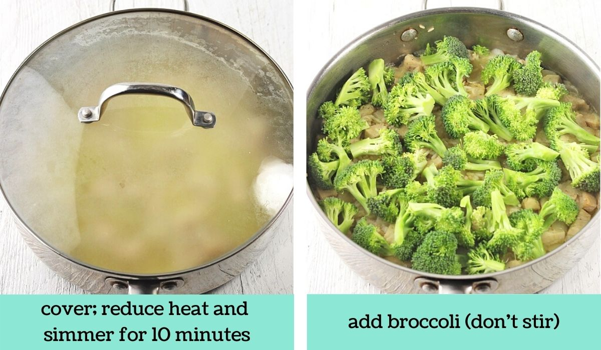 two images showing the steps to make cheesy chicken broccoli and rice skillet