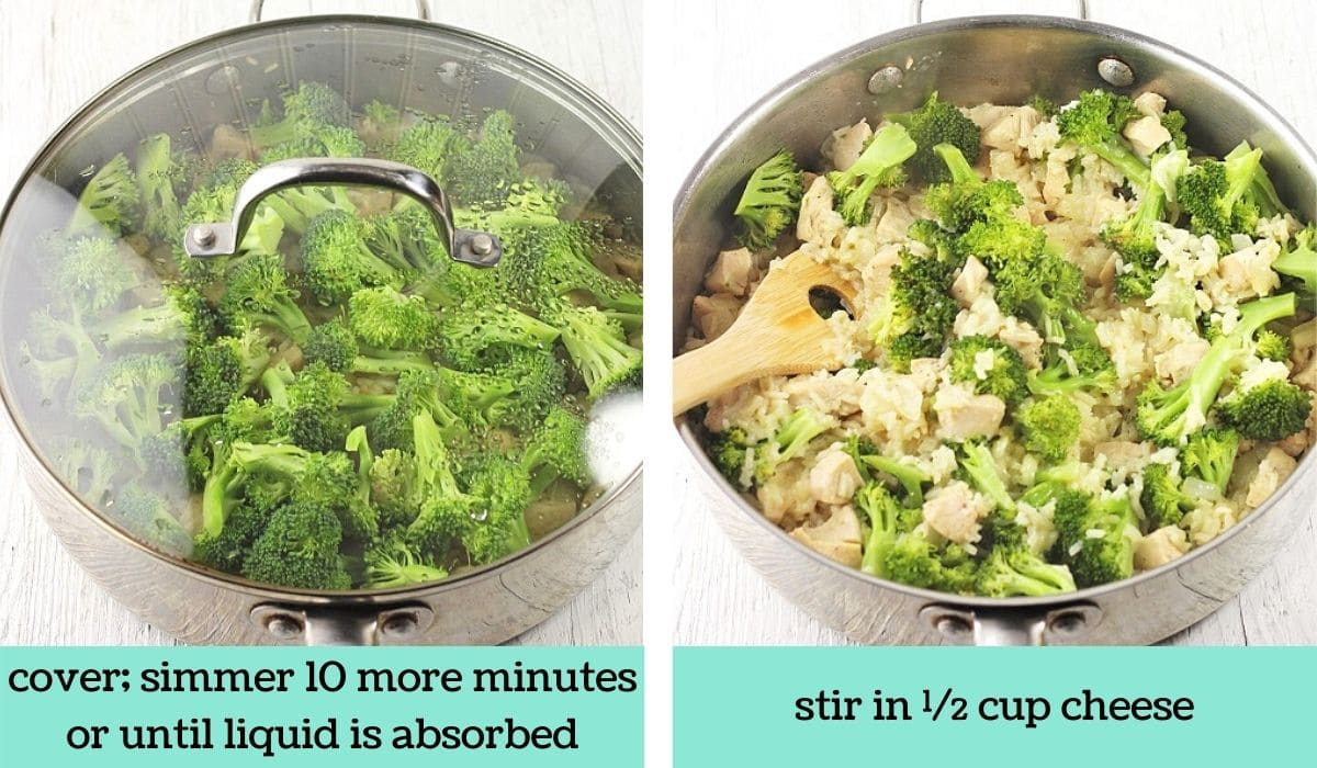 two images showing how to make cheesy chicken broccoli and rice skillet
