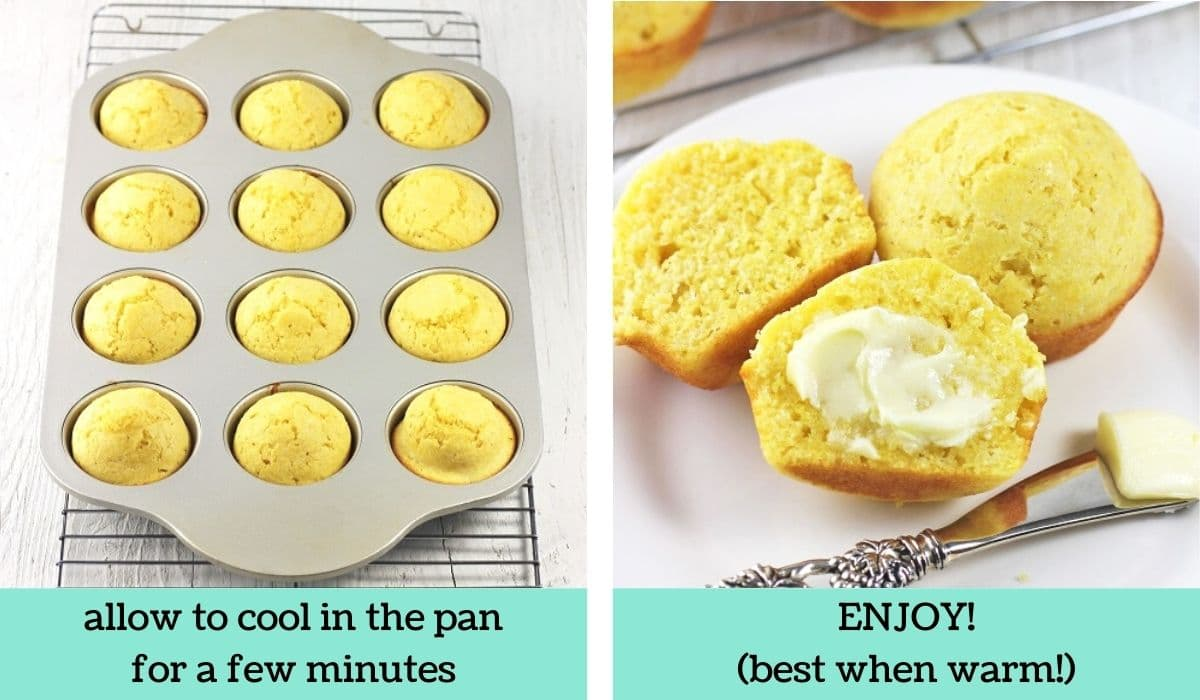 two images showing how to make easy homemade cornbread muffins