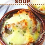 two crocks of french onion soup with spoons on the side with a text overlay that says easy homemade french onion soup nowcookthis.com