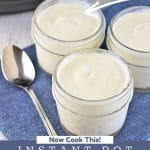 three jars of yogurt with a spoon next to an instant pot with a text overlay that says now cook this easy instant pot vanilla yogurt
