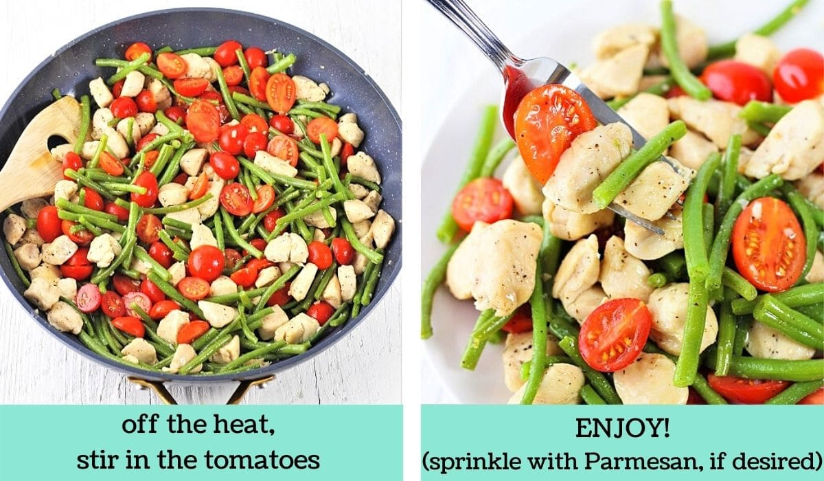 two images showing the steps to make garlic chicken with green beans and tomatoes