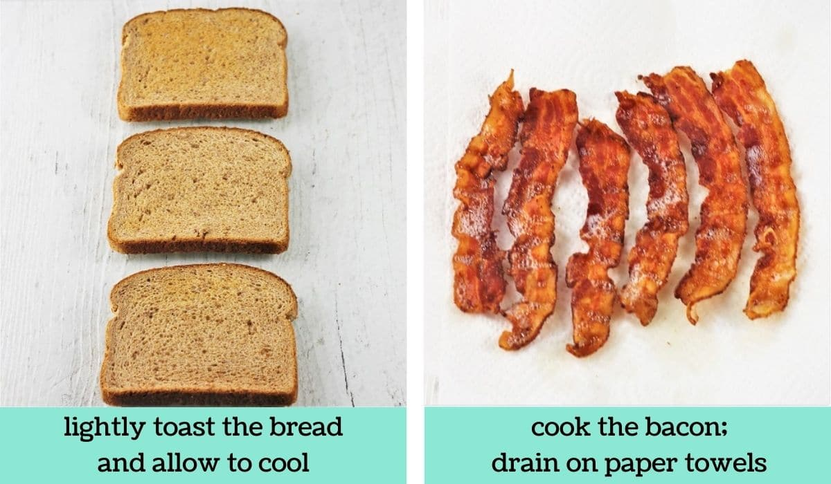 two images showing the steps to make a ham and turkey club sandwich