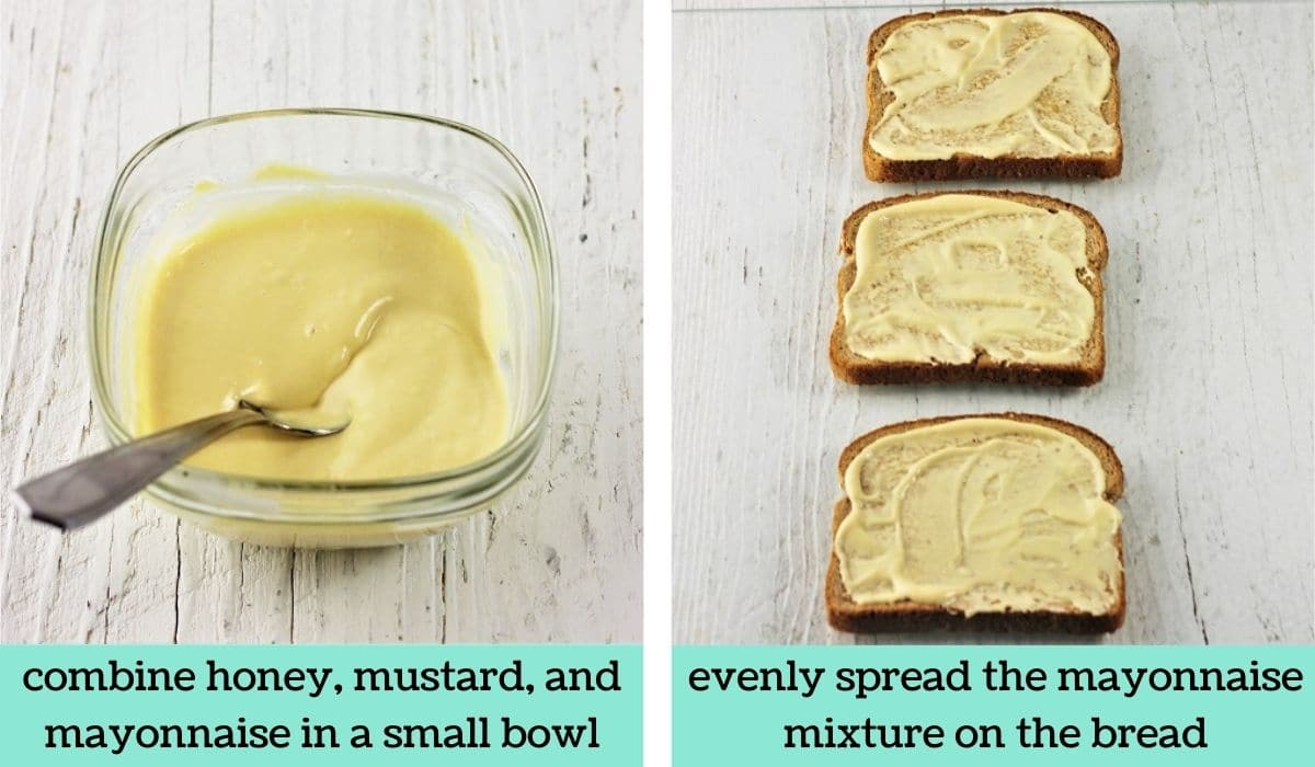 two images showing to steps to make a ham and turkey club sandwich