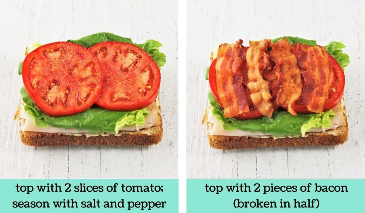 two images showing how to make a ham and turkey club sandwich