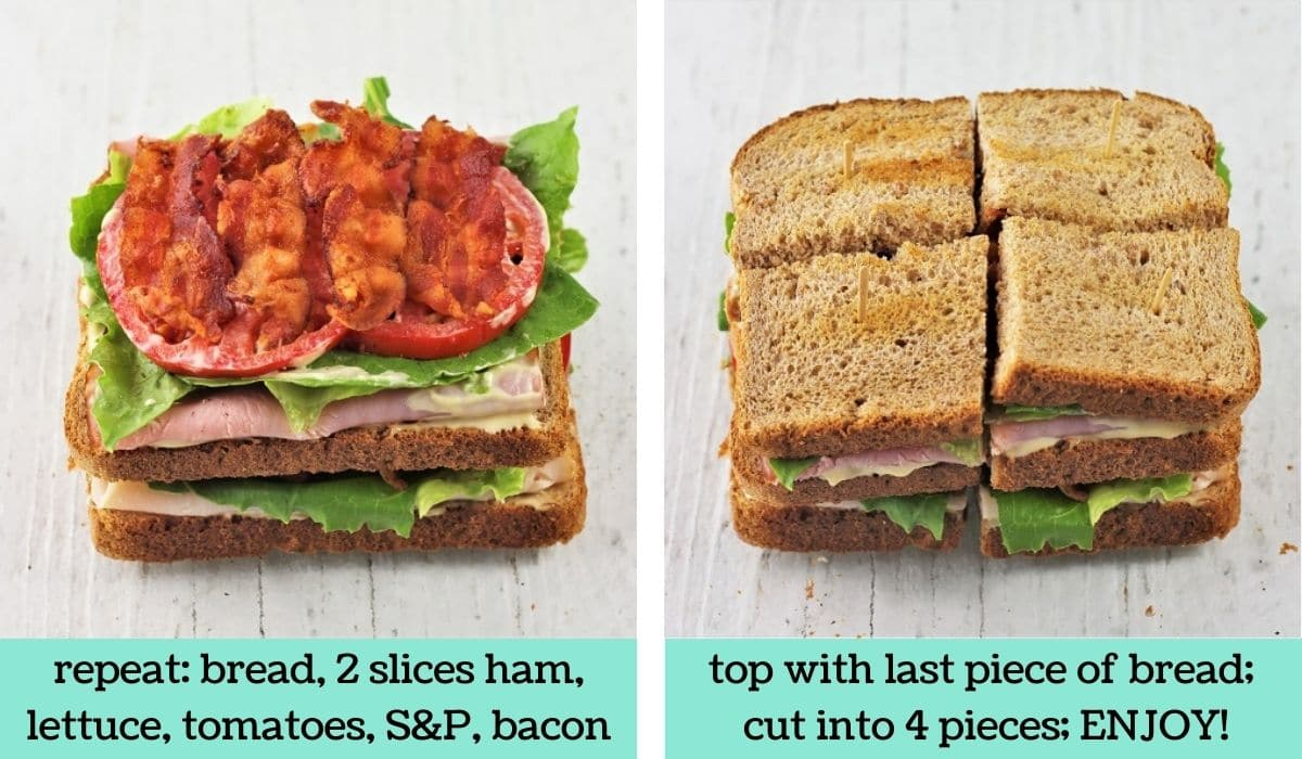 two images showing how to make a ham and turkey club sandwiche
