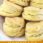 biscuits on a plate with a text overlay that says now cook this homemade buttermilk biscuits